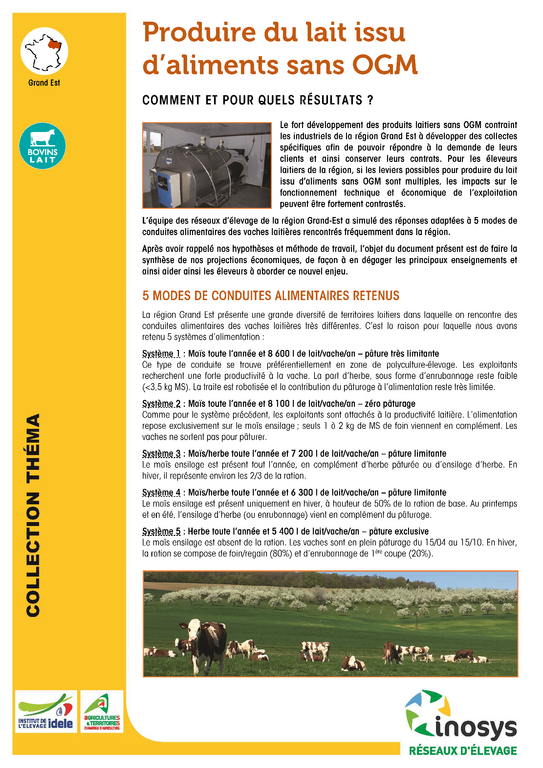 Produire du lait issu d 39 aliments sans ogm chambre d - Chambre d agriculture 54 ...